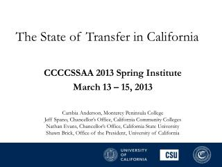The State of Transfer in California
