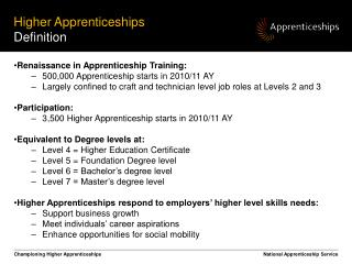 Higher Apprenticeships  Definition