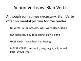 Action Verbs vs. Blah Verbs