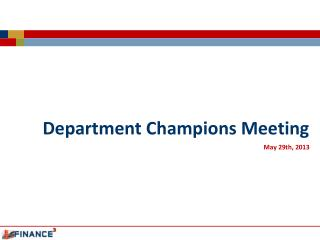 Department Champions Meeting