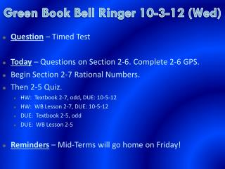 Green Book  Bell Ringer  10-3-12 (Wed)