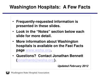Washington Hospitals:  A Few Facts