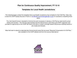 Plan for Continuous Quality Improvement (CQI): Communication Chart,  Staff