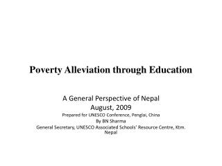 Poverty Alleviation through Education
