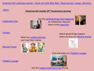 American Girl celebrates winner…Check out Little Bitty Bear…Read winners' essays…Discover..