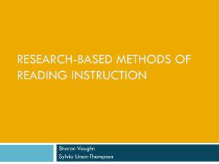 Research-Based Methods of Reading Instruction