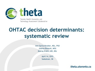 OHTAC decision determinants: systematic review