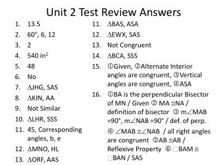 Unit 2 Test Review Answers