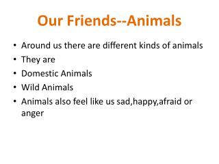 Our Friends--Animals