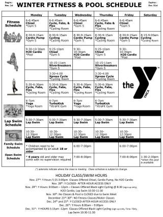 WINTER FITNESS & POOL SCHEDULE