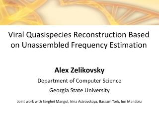 Alex Zelikovsky Department of Computer Science Georgia State University