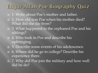 Edgar Allan Poe Biography Quiz