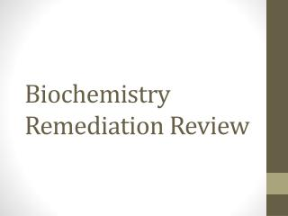 Biochemistry Remediation Review