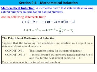 Section 9.4 – Mathematical Induction