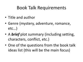 Book Talk Requirements