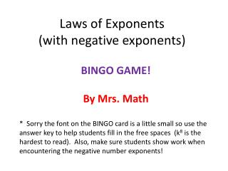 Laws of Exponents                              (with negative exponents)