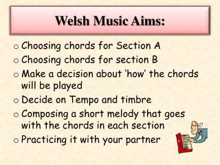 Welsh Music Aims: