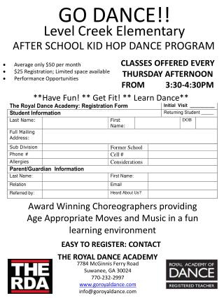 CLASSES OFFERED EVERY THURSDAY AFTERNOON FROM          3:30 - 4 :30PM