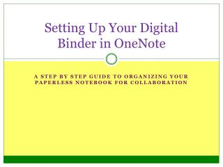 Setting Up Your Digital Binder in OneNote