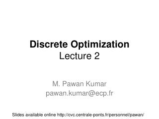 Discrete Optimization Lecture  2
