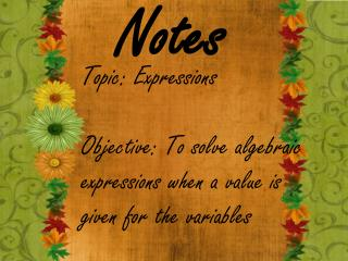 Topic:  Expressions