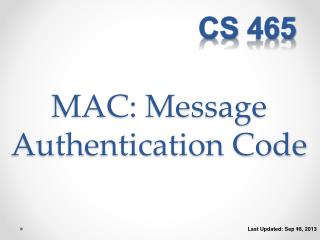 MAC: Message Authentication Code