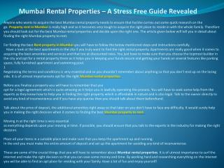 Mumbai Rental Properties – A Stress Free Guide Revealed