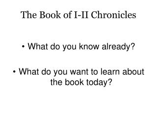 The Book of I-II Chronicles