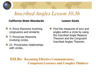 Inscribed Angles Lesson 10.3b