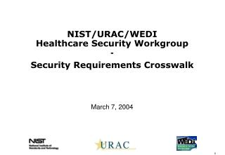 NIST/URAC/WEDI  Healthcare Security Workgroup - Security Requirements Crosswalk March 7, 2004