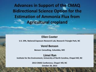 Ellen Cooter U.S. EPA, National Exposure Research Lab, Research Triangle Park, NC Verel Benson