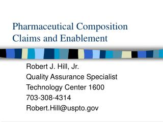 Pharmaceutical Composition Claims and Enablement