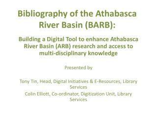 Bibliography of the Athabasca River Basin (BARB):
