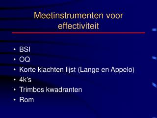 Meetinstrumenten voor effectiviteit