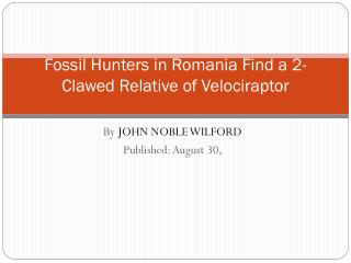 Fossil Hunters in Romania Find a 2-Clawed Relative of  Velociraptor