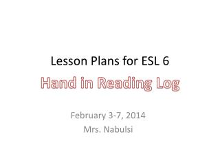 Lesson Plans for ESL 6