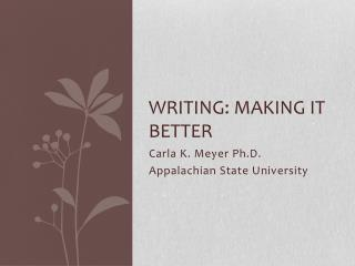 Writing: Making It Better