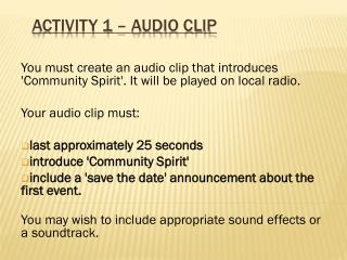 Activity 1 – Audio Clip