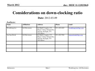 Considerations on down-clocking ratio