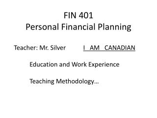 FIN 401 Personal Financial Planning