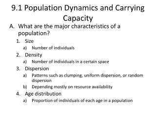 9.1 Population Dynamics and Carrying Capacity