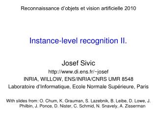 Instance-level  recognition II.