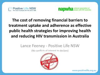 Lance Feeney - Positive Life NSW (No conflicts of interest to declare)
