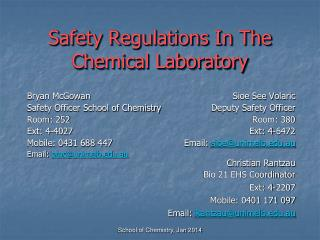 Safety Regulations In The Chemical Laboratory