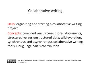 S kills : organizing  and  starting  a collaborative writing project