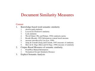 Document Similarity Measures