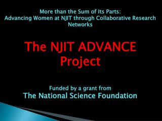 More  than the Sum of Its Parts:  Advancing Women at NJIT through Collaborative Research Networks