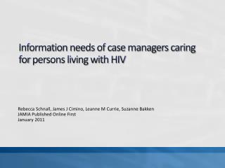 Information needs of case managers caring for persons living with HIV
