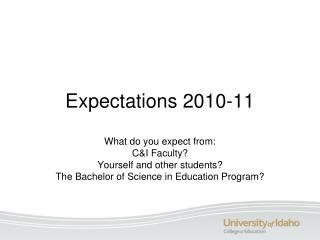 Expectations 2010-11