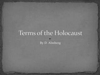 Terms of the Holocaust